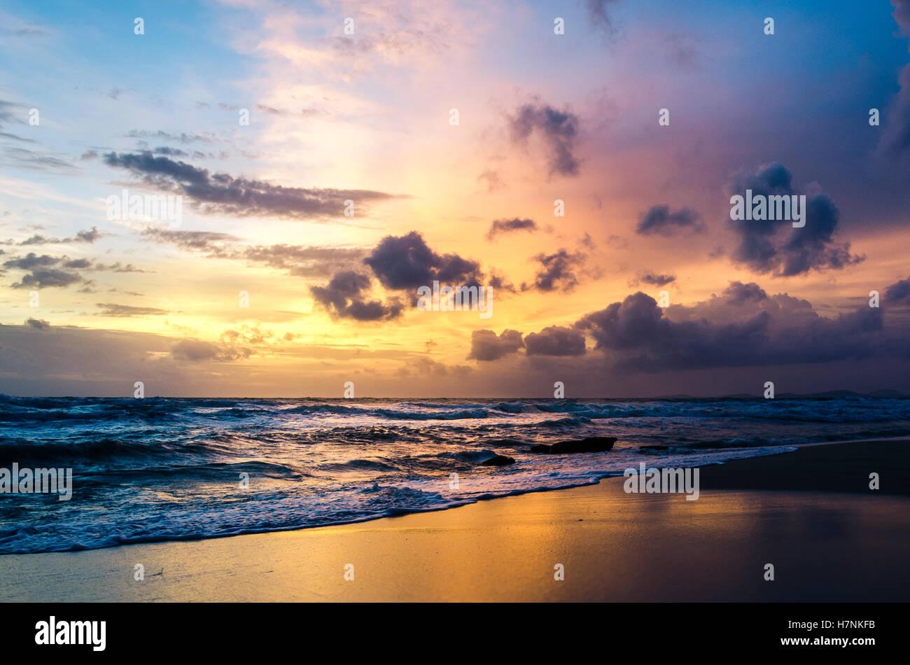Sunset on the beach, Phu Quoc Island, Vietnam - Stock Image