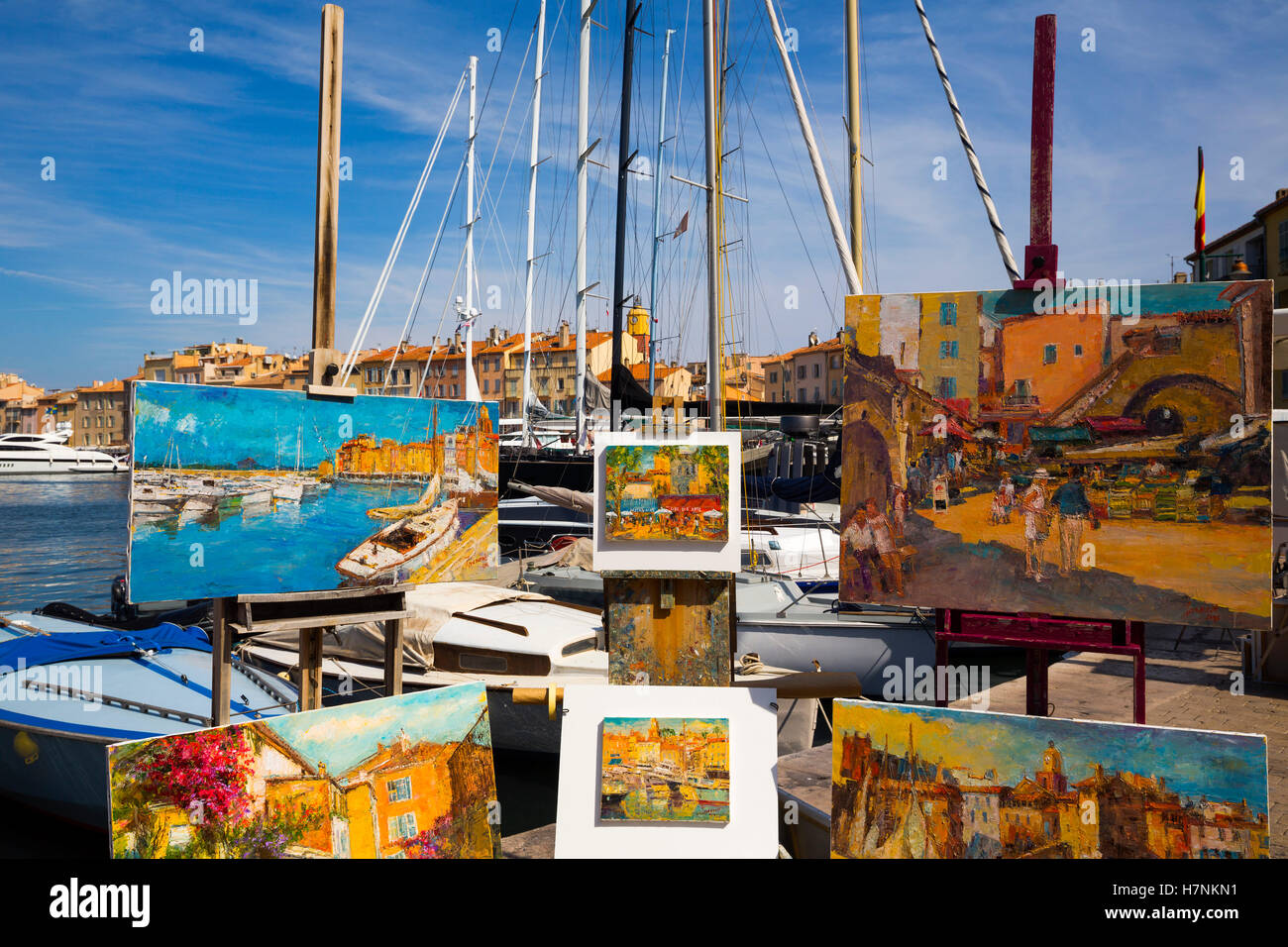 Paintings for sale, Marina, old harbour  Village of Saint