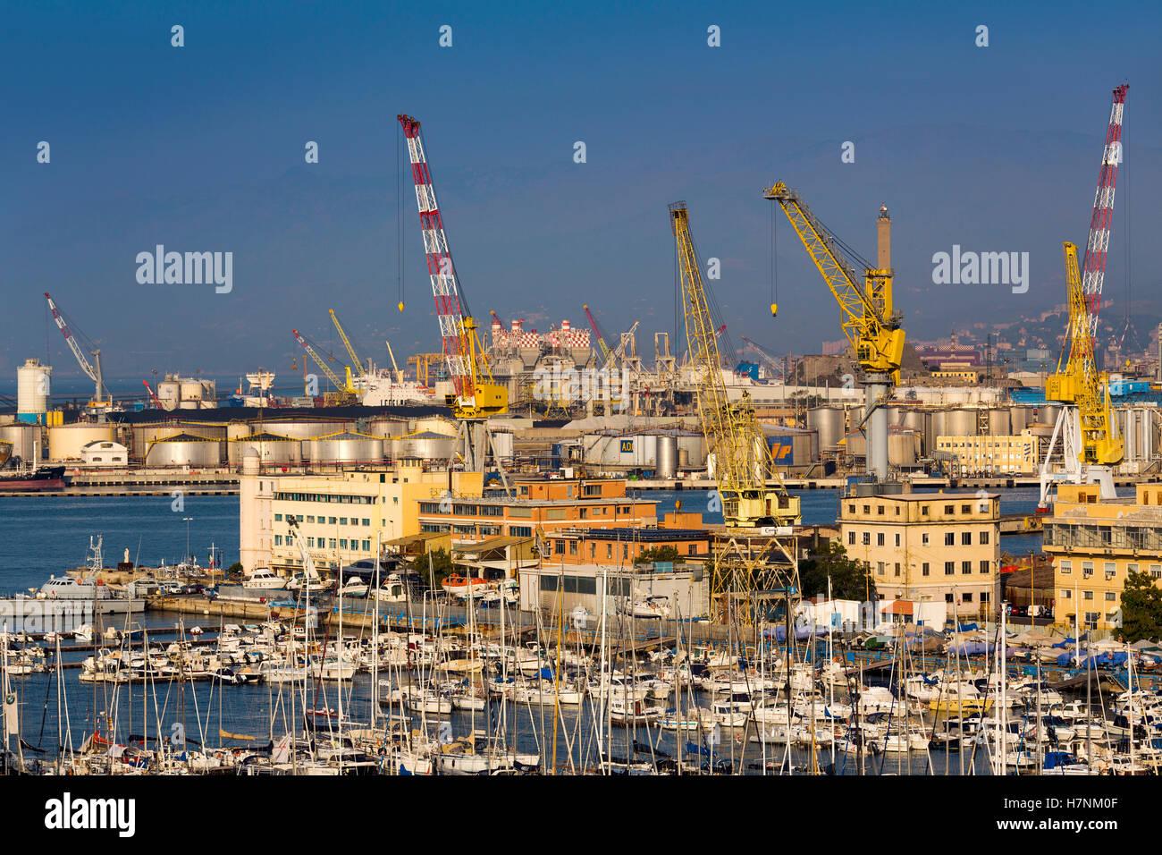 The harbour of Genoa. Mediterranean Sea. Liguria, Italy Europe - Stock Image