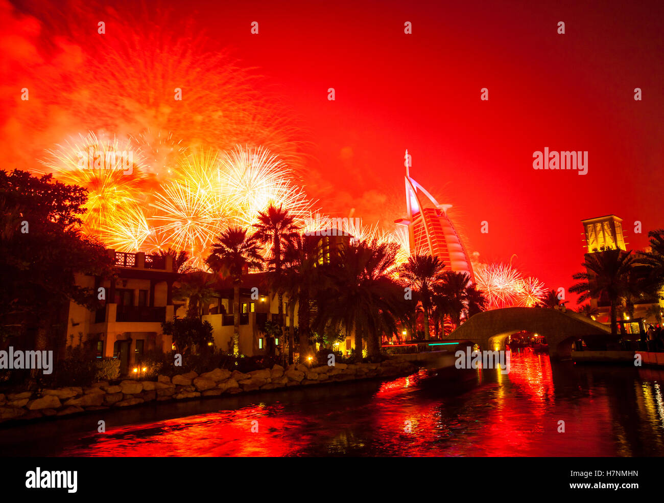 New Year in Dubai. A view to hotel resort Burj al Arab from hhotel resort Madinat - Stock Image