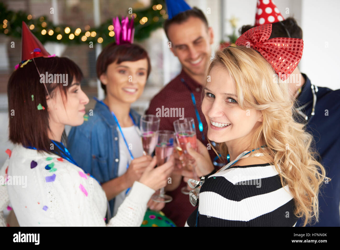 Good moods at office party - Stock Image