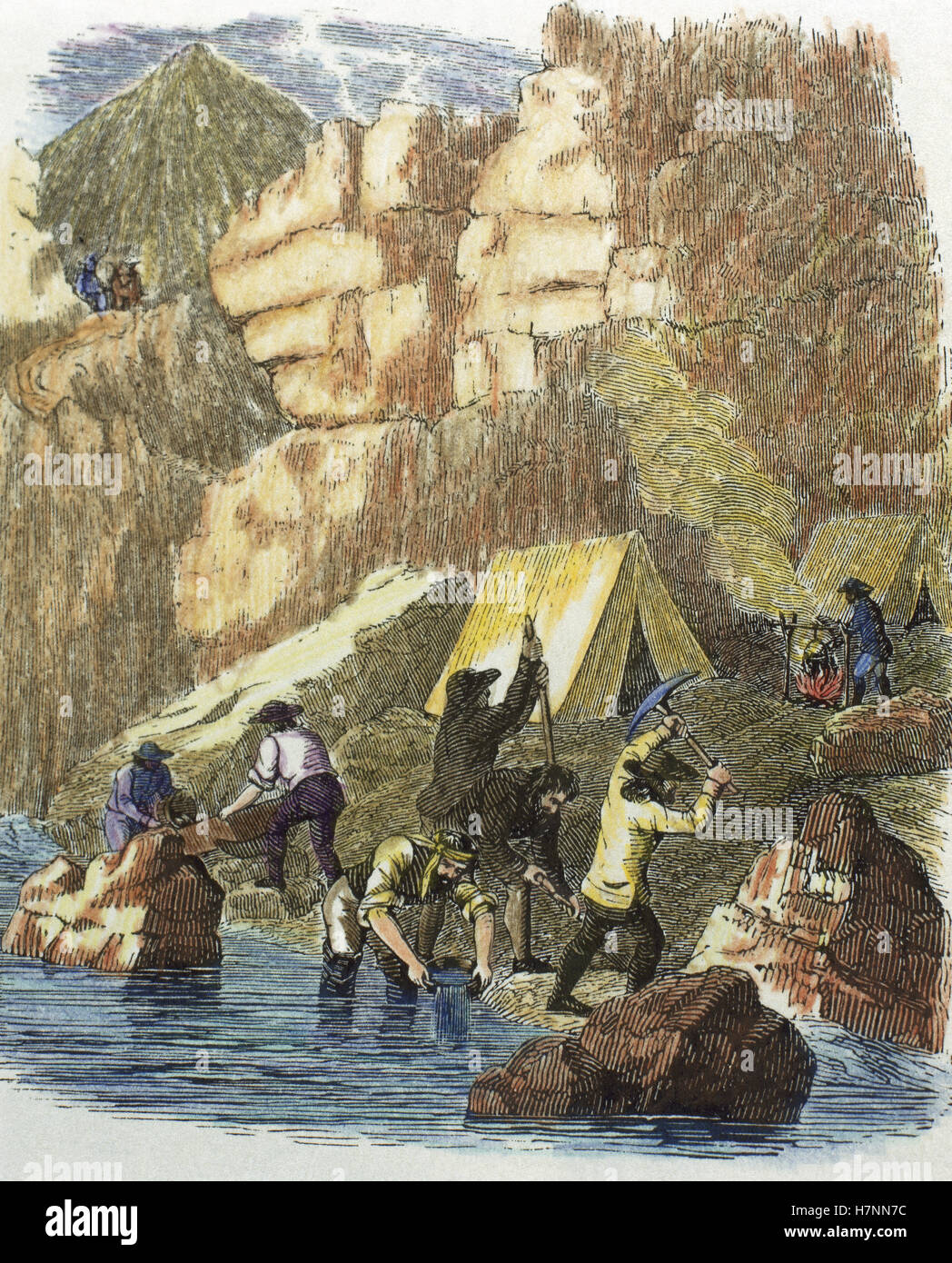 The United States. 19th century. Gold Rush in the California State. Prospectors looking for gold nuggets on the - Stock Image