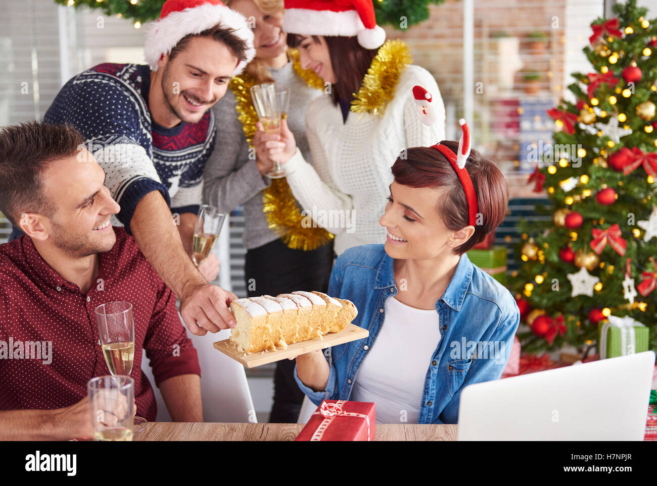Can we try delicious Christmas cake - Stock Image