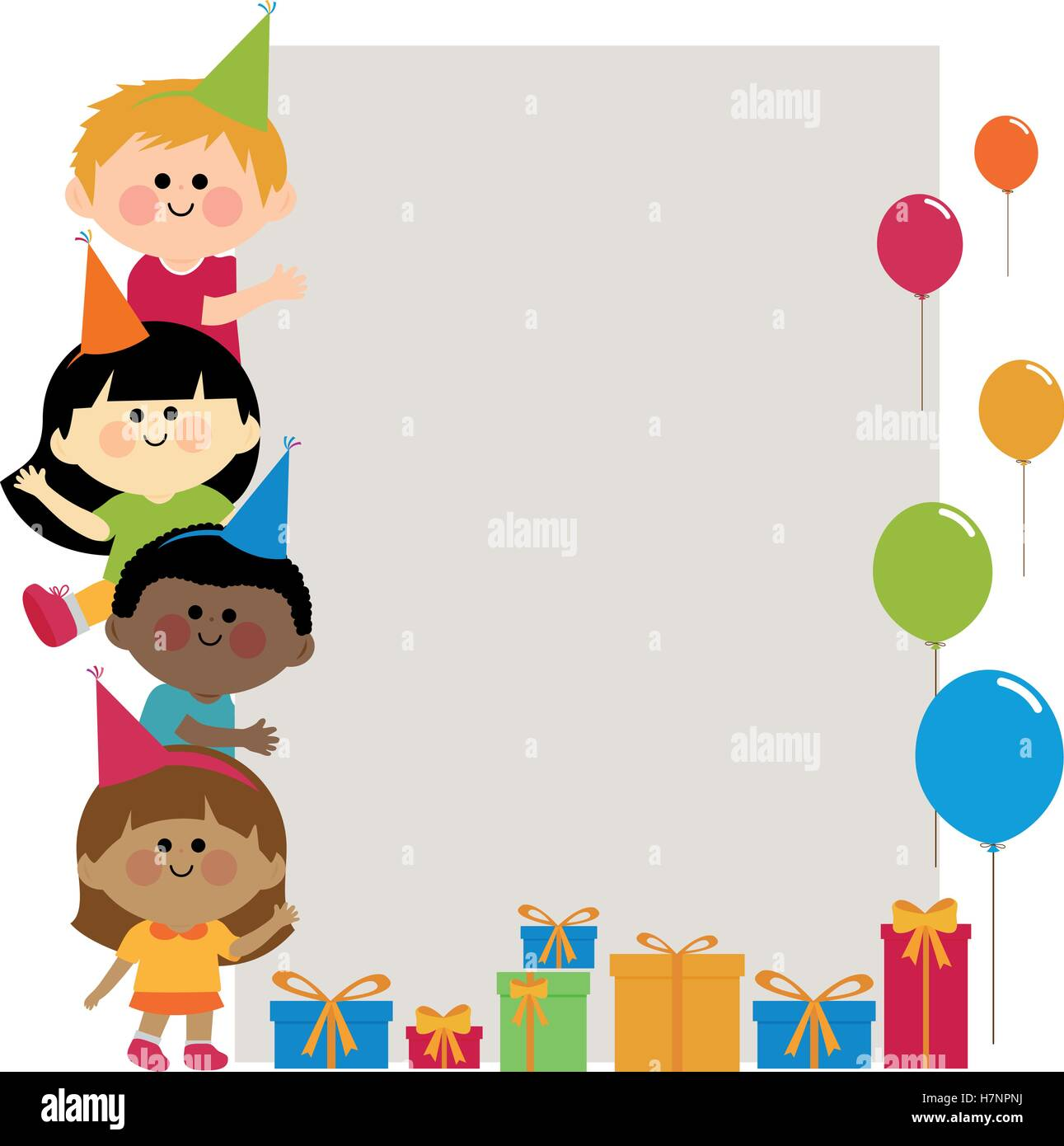 group of birthday party kids holding vertical blank banner stock