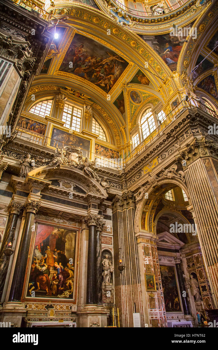 Church of San Gesu, baroque style. Historic center, Old Twon. Genoa. Mediterranean Sea. Liguria, Italy Europe - Stock Image
