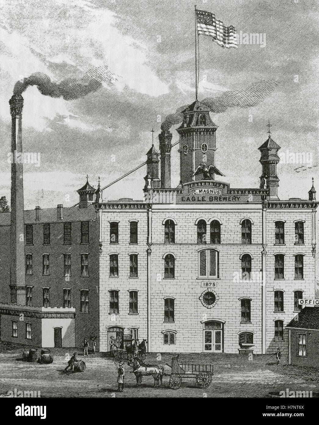 The United States. 19th century. Eagle Brewery of C. Magnus at Cedar Rapids (Iowa), 1875. The largest and only first - Stock Image