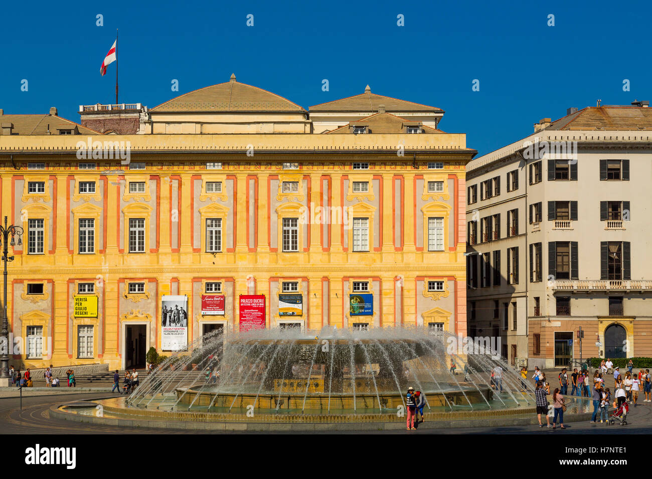 Fontana Piazza de Ferrari. Historic center, Old Twon. Genoa. Mediterranean Sea. Liguria, Italy Europe - Stock Image