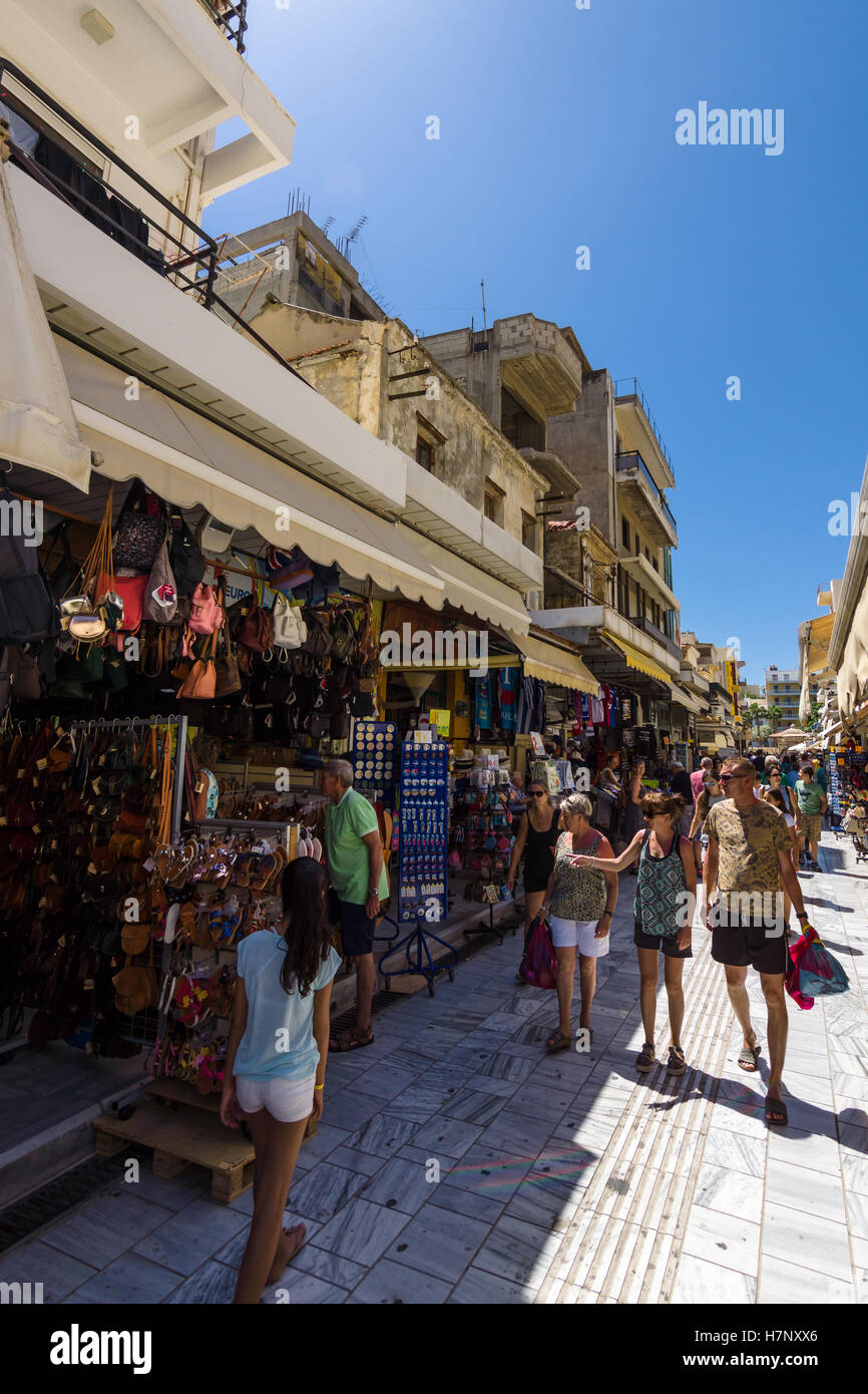 HERAKLION, GREECE - JULY 09, 2016: Crete. The popular market and shopping street №1866 in the historic center of - Stock Image