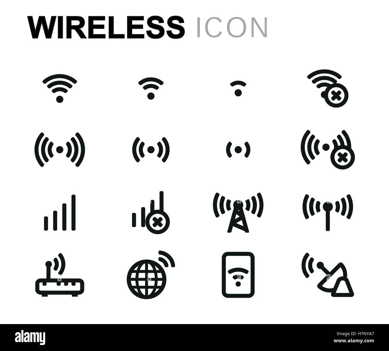 Vector line wireless icons set on white background - Stock Image