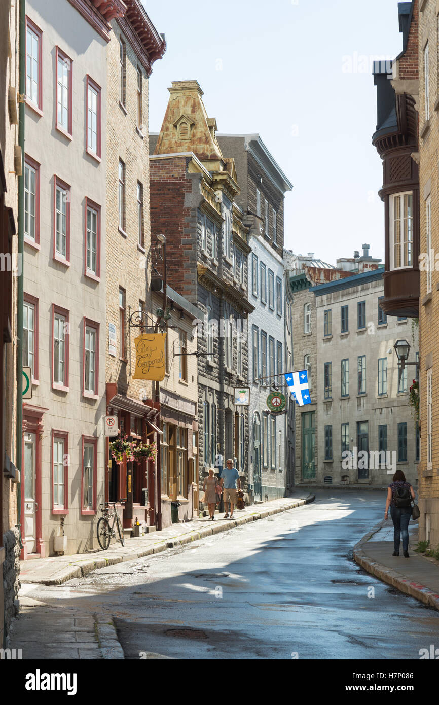 Old Quebec city - quiet residential side street, Quebec, Canada - Stock Image