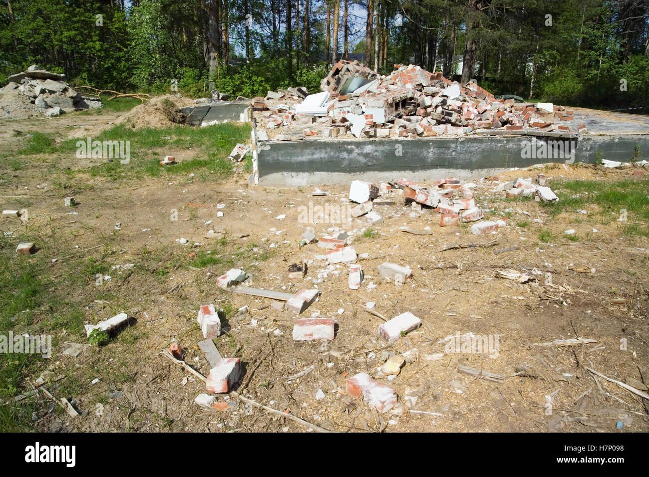 demolished house foundation, Finland - Stock Image