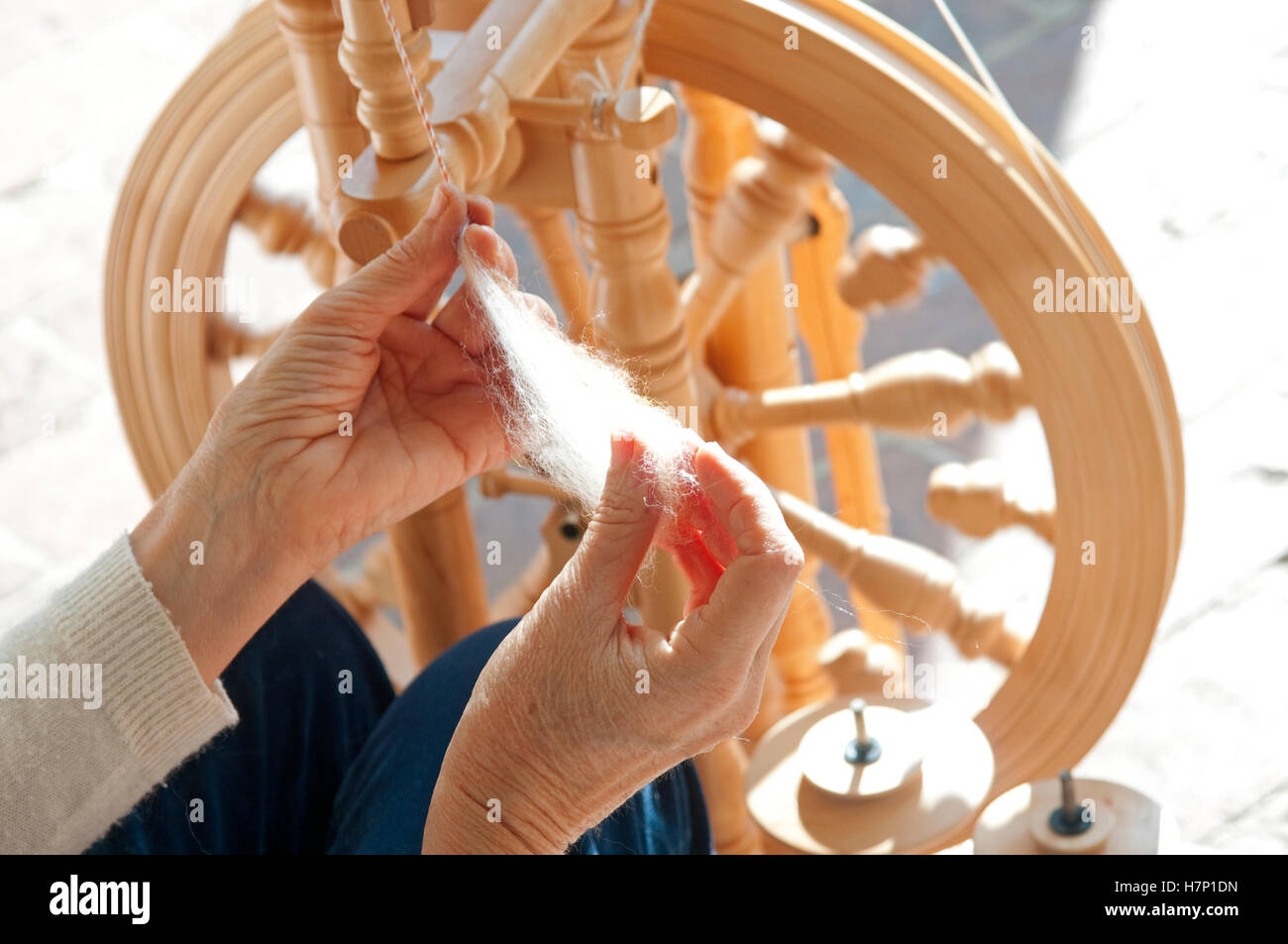 Italy, Lombardy, Wool Spin - Stock Image