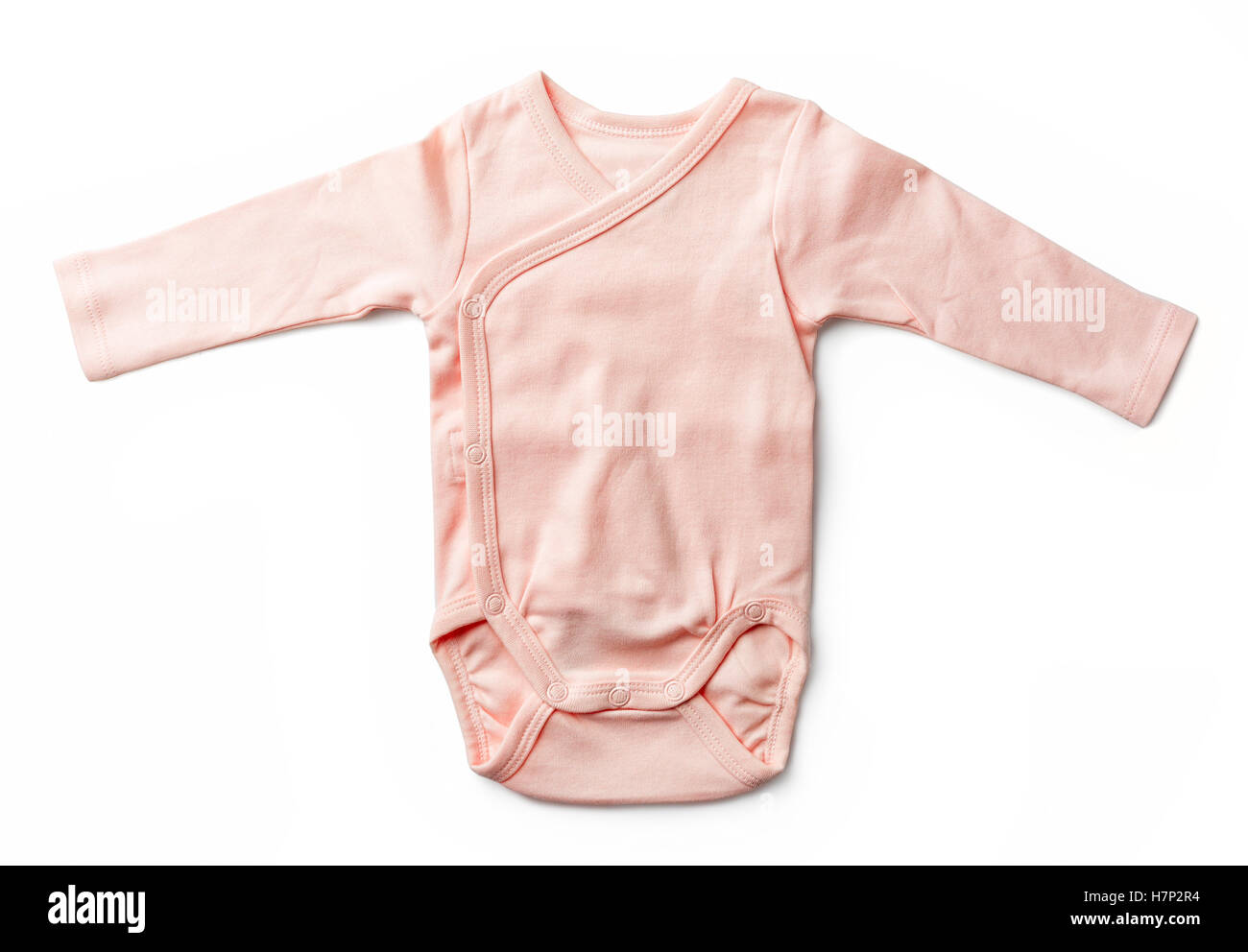 Pink baby girl's bodysuit isolated on white background, top view - Stock Image