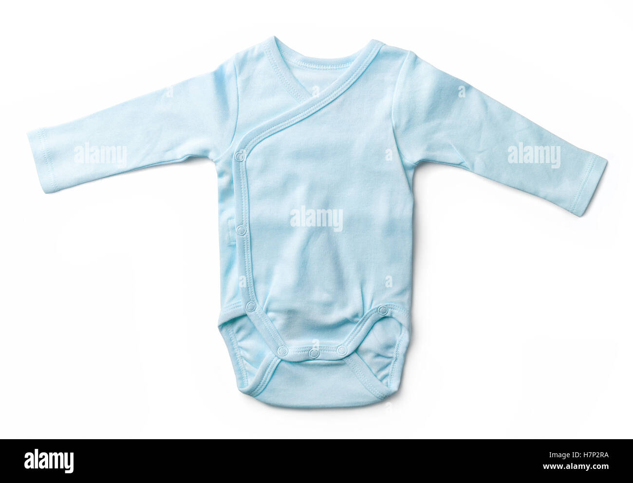 Blue baby girl's bodysuit isolated on white background, top view - Stock Image