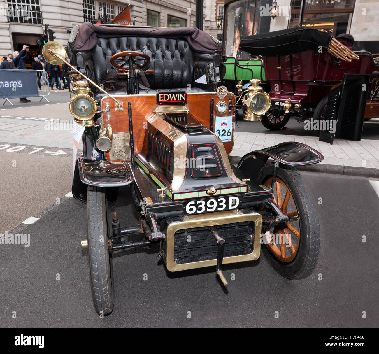 A 1904, De Dion Bouton Victoria 1 Cylinder, 8HP veteran car on display in the Concours d'Elegance, at Regents Street, Stock Photo