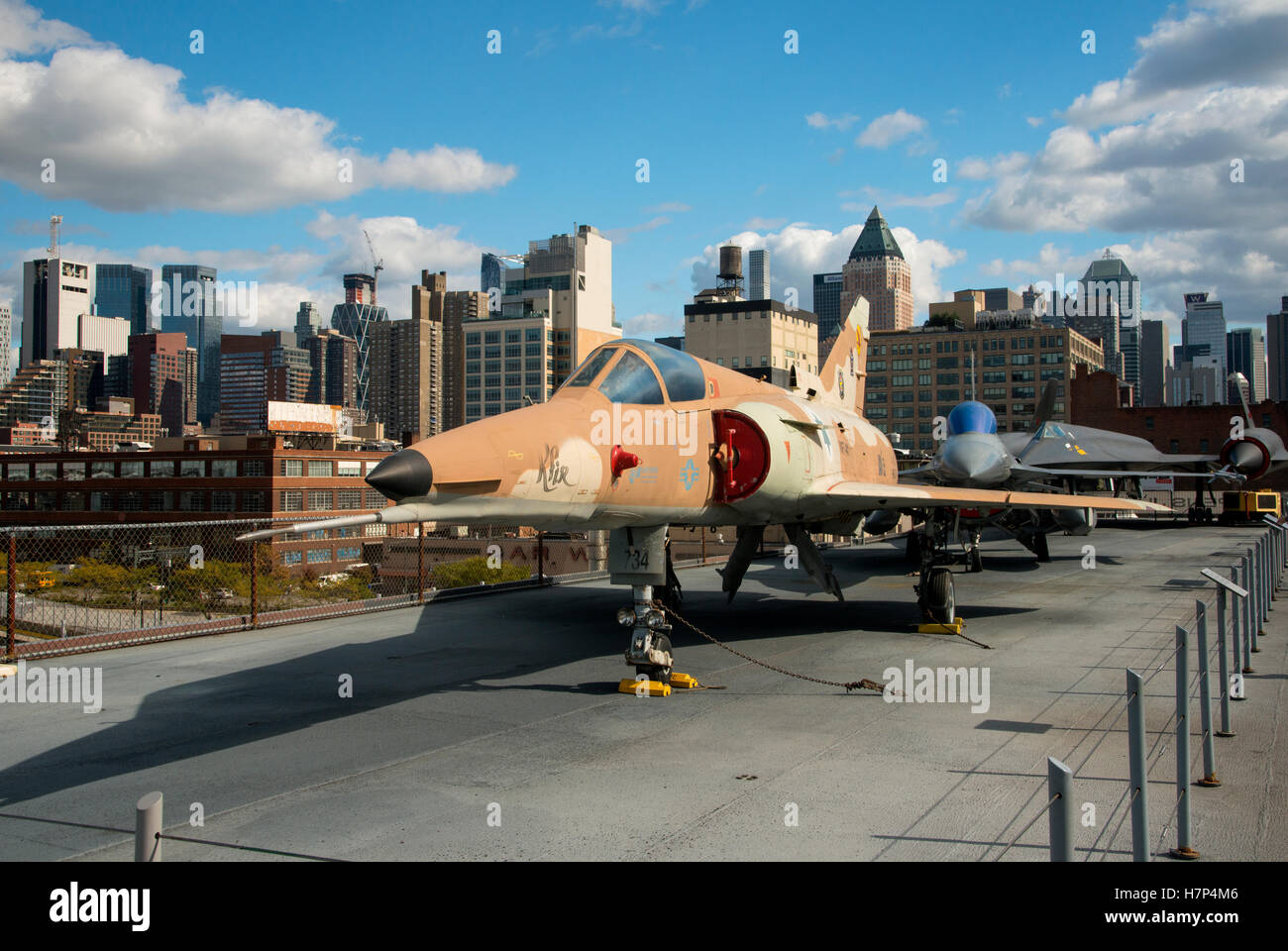 1962 Dassault Étendard IVM on the USS Intrepid air and space museum, aboard the vast World War 2 American aircraft Stock Photo