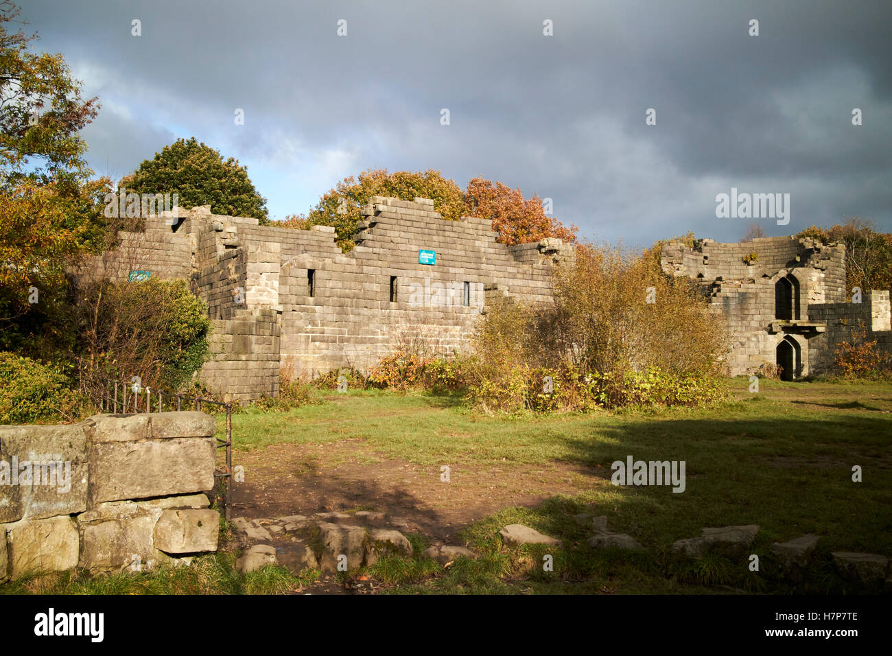 folly replica of Liverpool Castle in lever park rivington - Stock Image