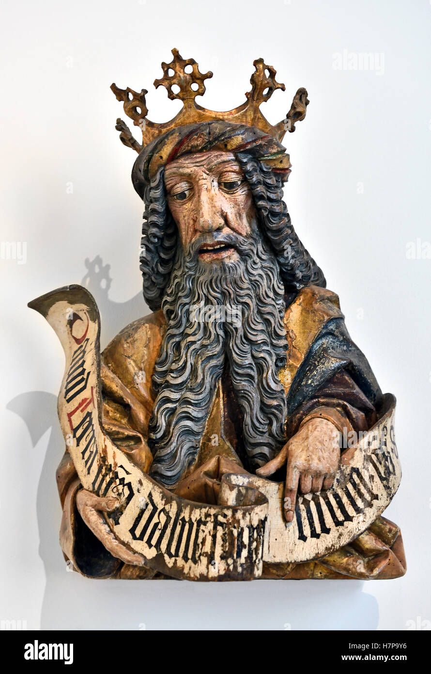 King David 1460 Oberschwaben Ulm German Germany ( David according to the Hebrew Bible, was the second king of the Stock Photo