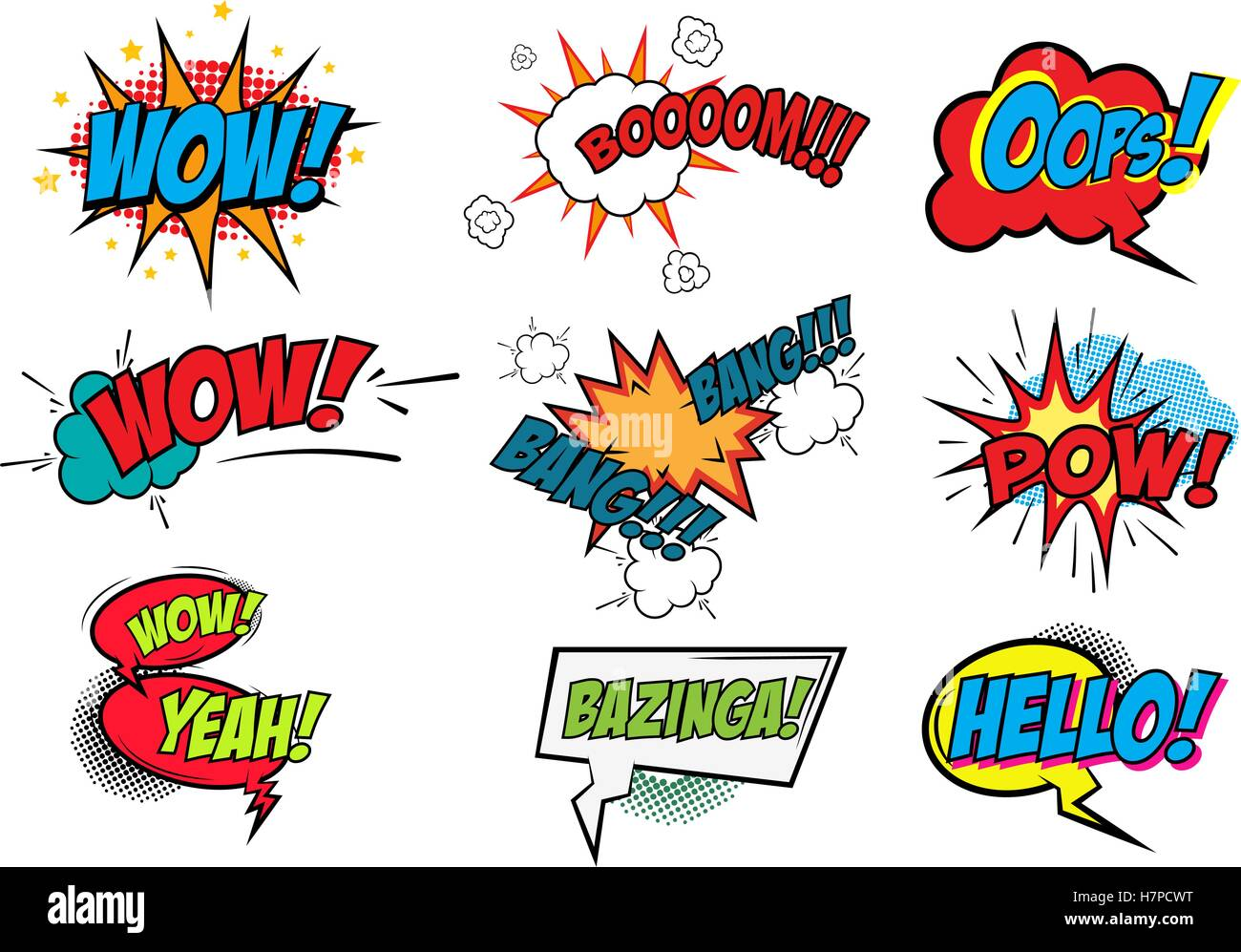 Set of Comic Text, Pop Art style - Stock Image