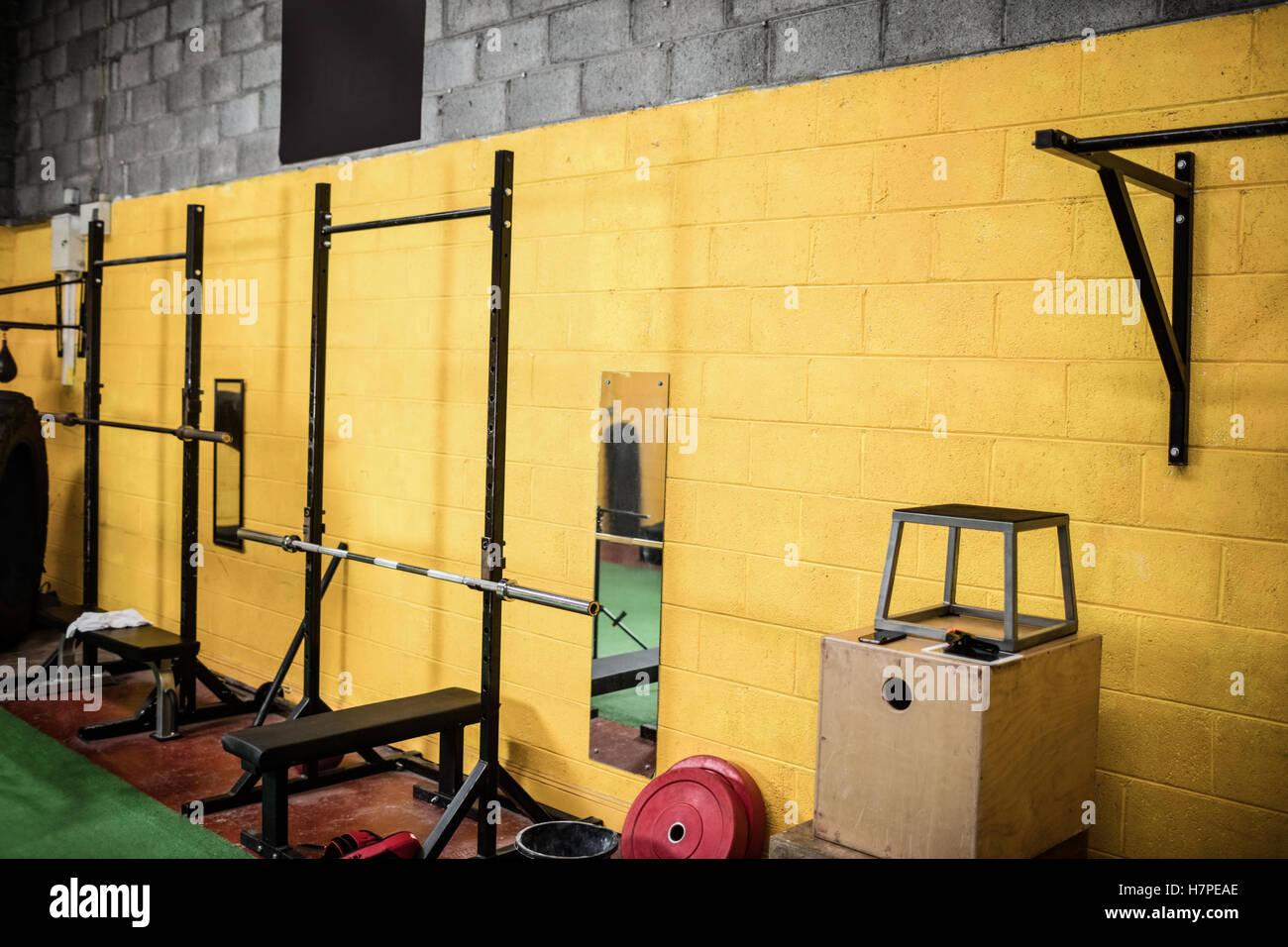 Exercising equipment in the fitness studio - Stock Image