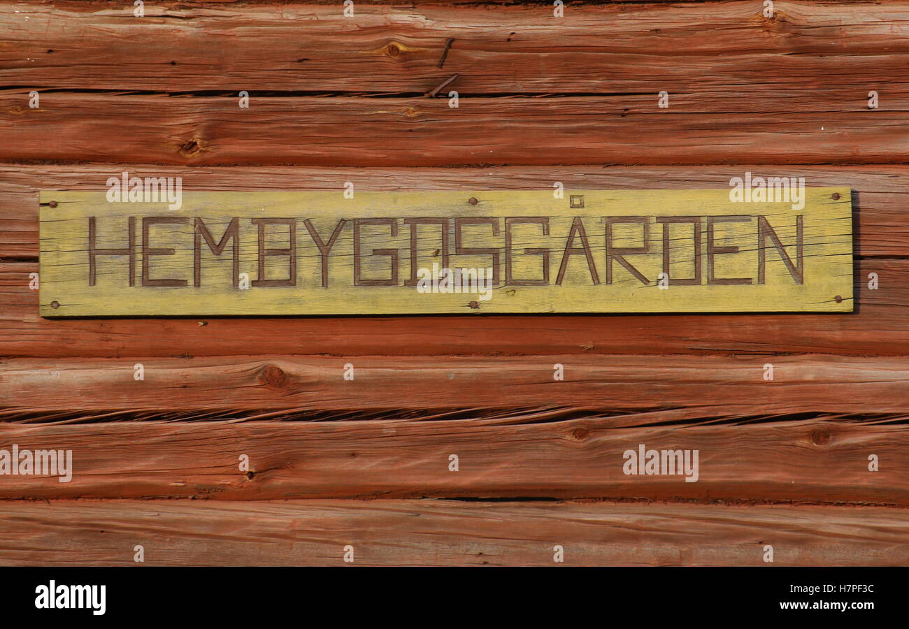 Sign of a Swedish Hembygdsgaard, a historic farm building . - Stock Image
