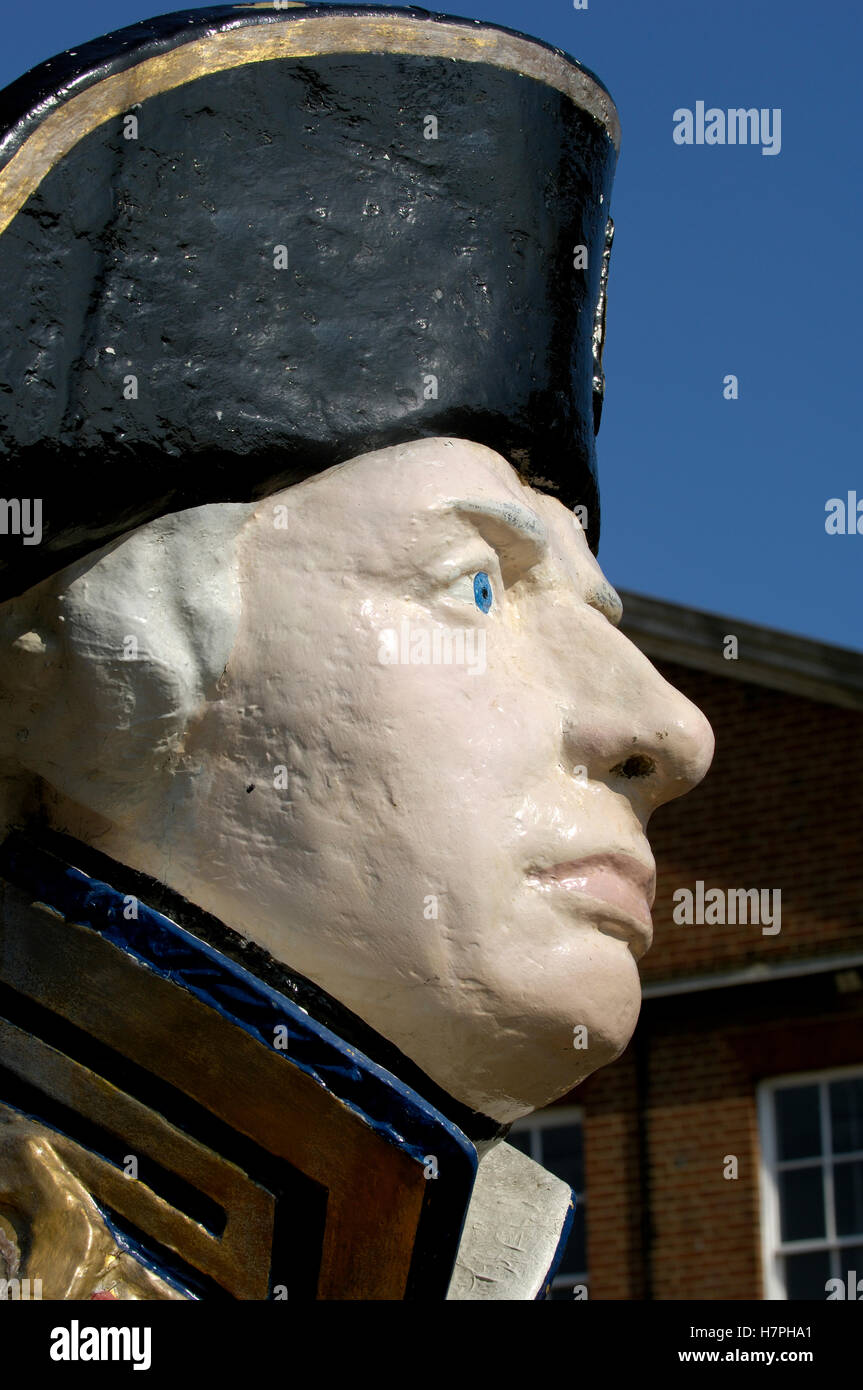 Bust - statue - Lord Horatio Nelson in HM Dockyard Portsmouth, Portsmouth, Hampshire, England. UK. - Stock Image