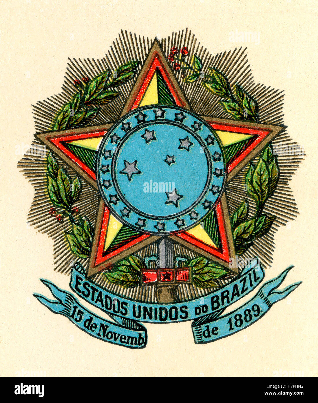 Coat of arms of the United States of Brazil, 1889–1968. - Stock Image
