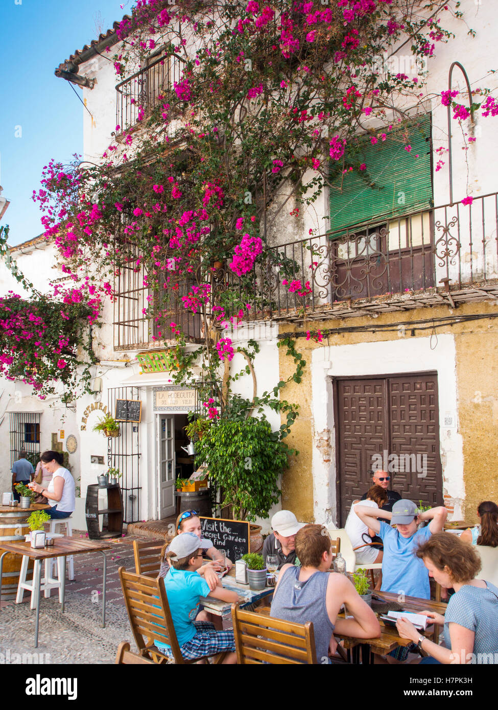 Typical bar restaurant and bougainvillea , Old Town Marbella. Costa del Sol, Málaga province. Andalusia, Spain - Stock Image