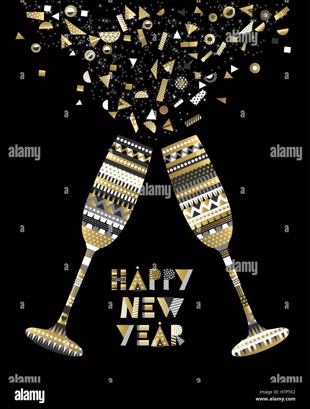 gold happy new year card design with drink glass making toast and abstract elegant decoration eps10 vector