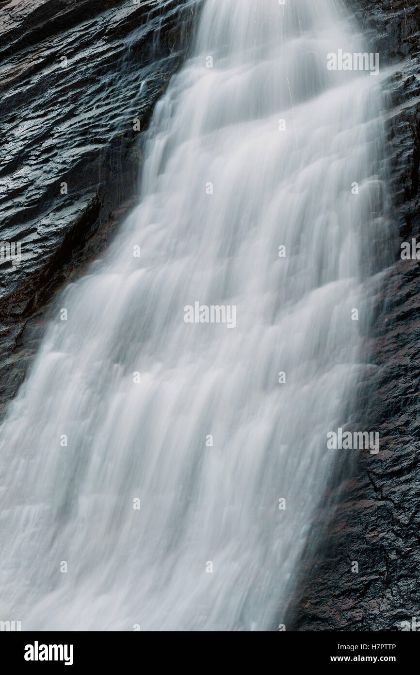 Waterfall detail with longtime exposure, Fairy Pools, Isle Of Skye, Hebrides. - Stock Image