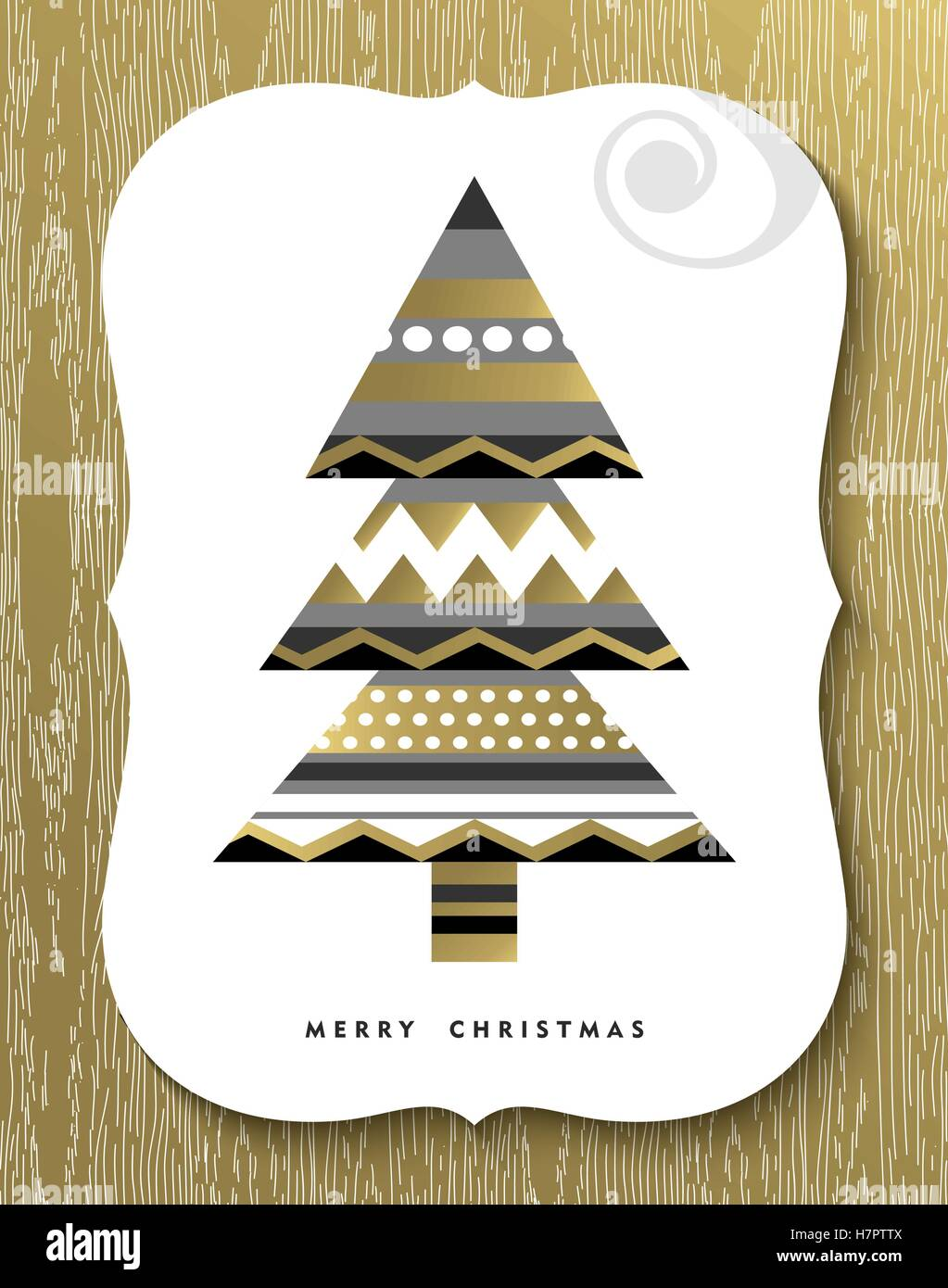 Gold Merry Christmas Greeting Card Design With Modern Xmas Pine Tree