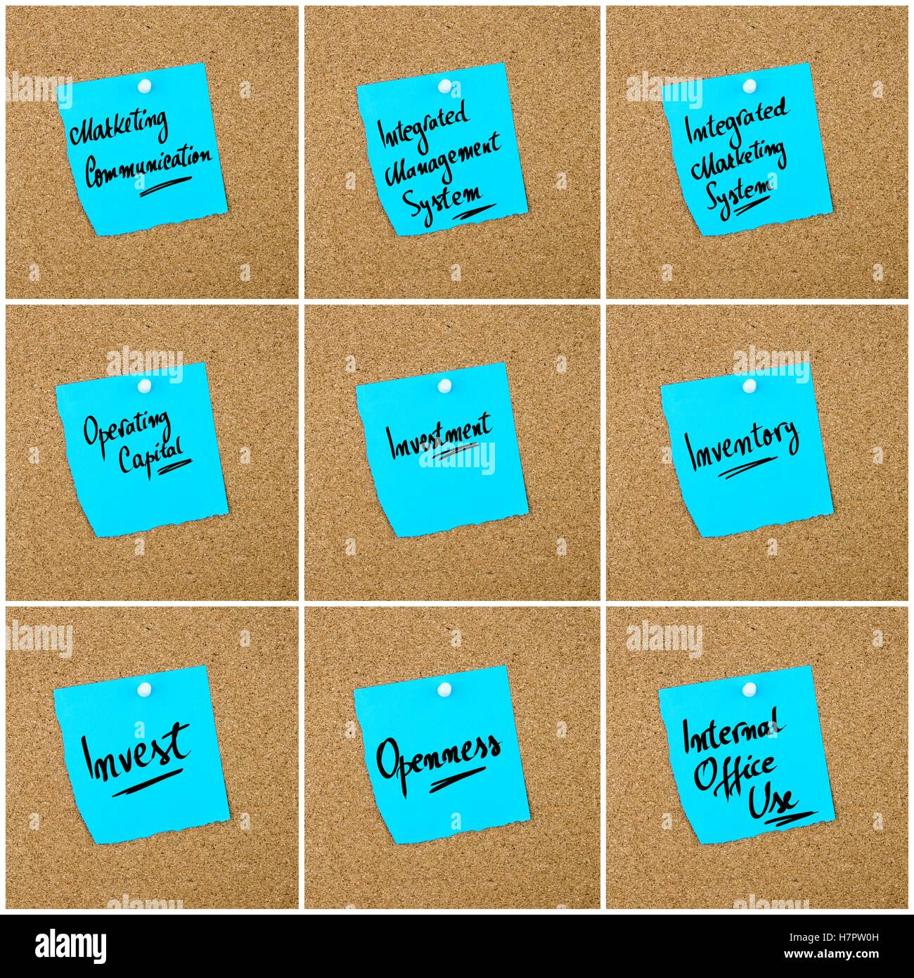 Collage of Business Acronyms written on blue paper note pinned on cork board with white thumbtack, copy space available - Stock Image