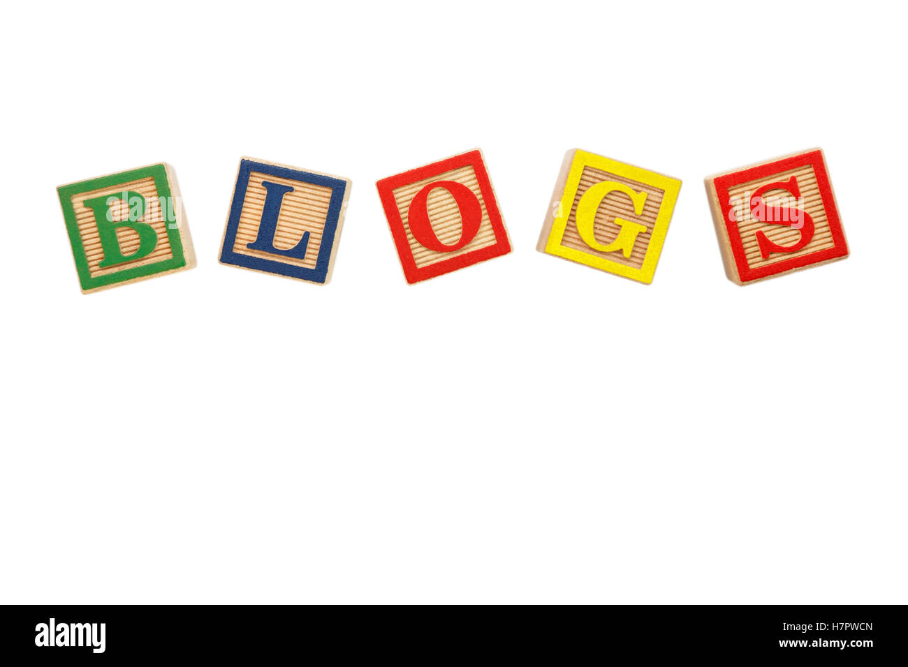 The word BLOGS spelt with colourful letter blocks cut out on white - Stock Image