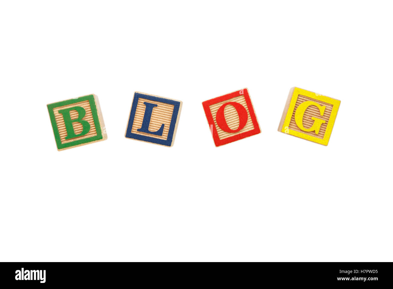 The word BLOG spelt with colourful letter blocks cut out on white - Stock Image