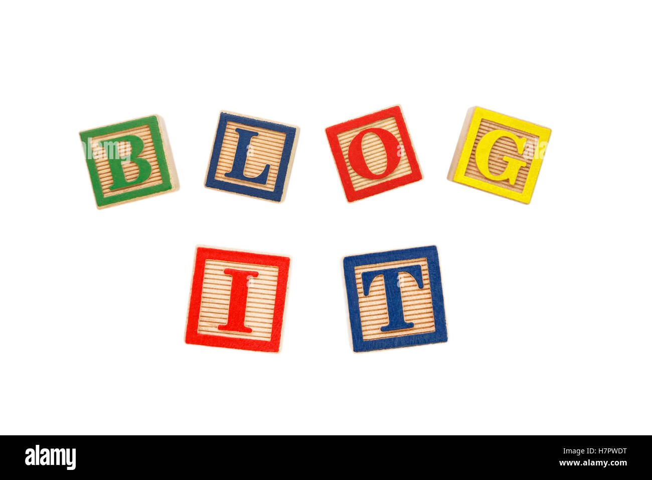 The words BLOG IT spelt with colourful letter blocks cut out on white - Stock Image