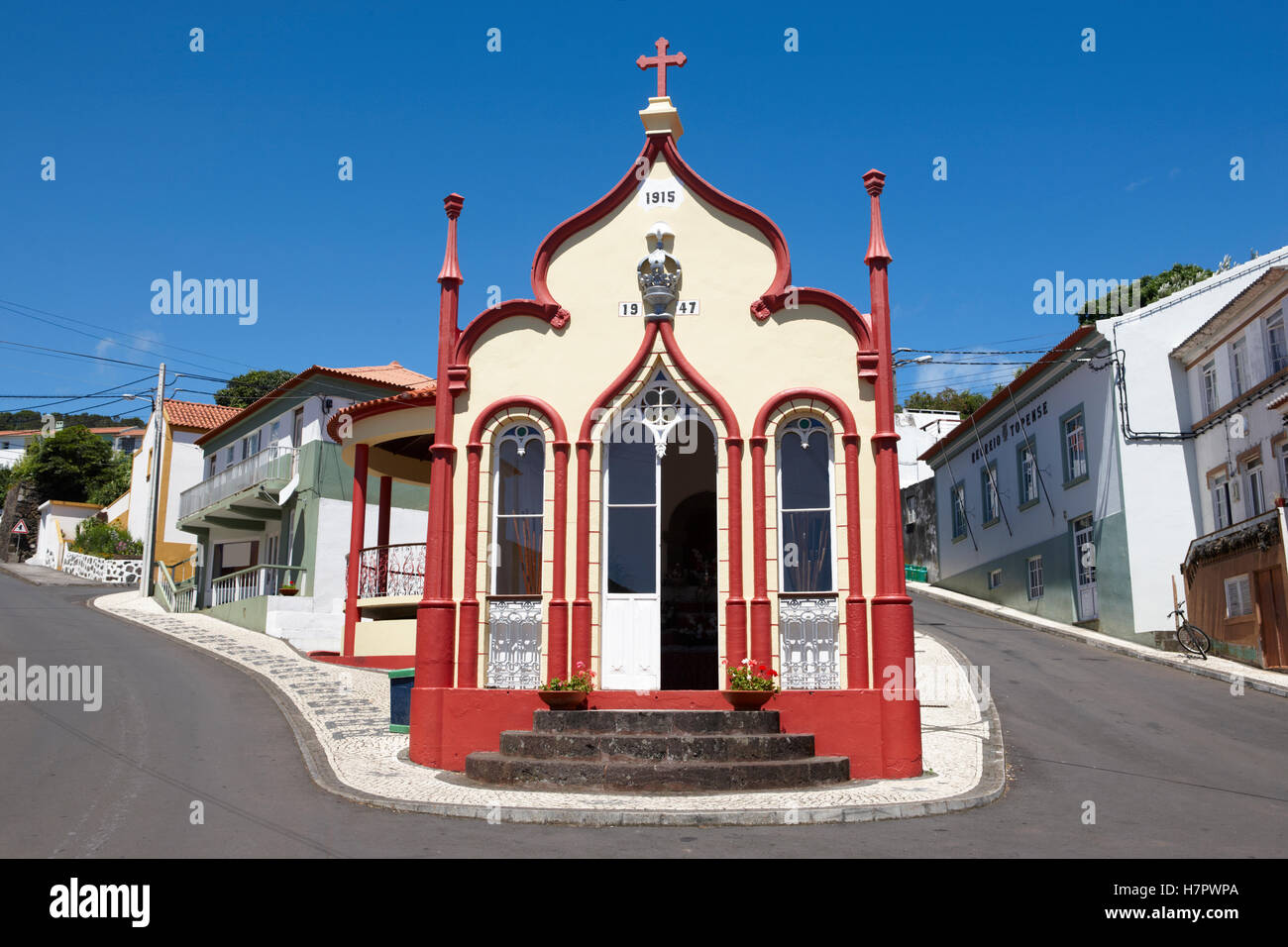 Traditional Azores catholic chapel in Topo. Sao Jorge. Portugal. Horizontal - Stock Image