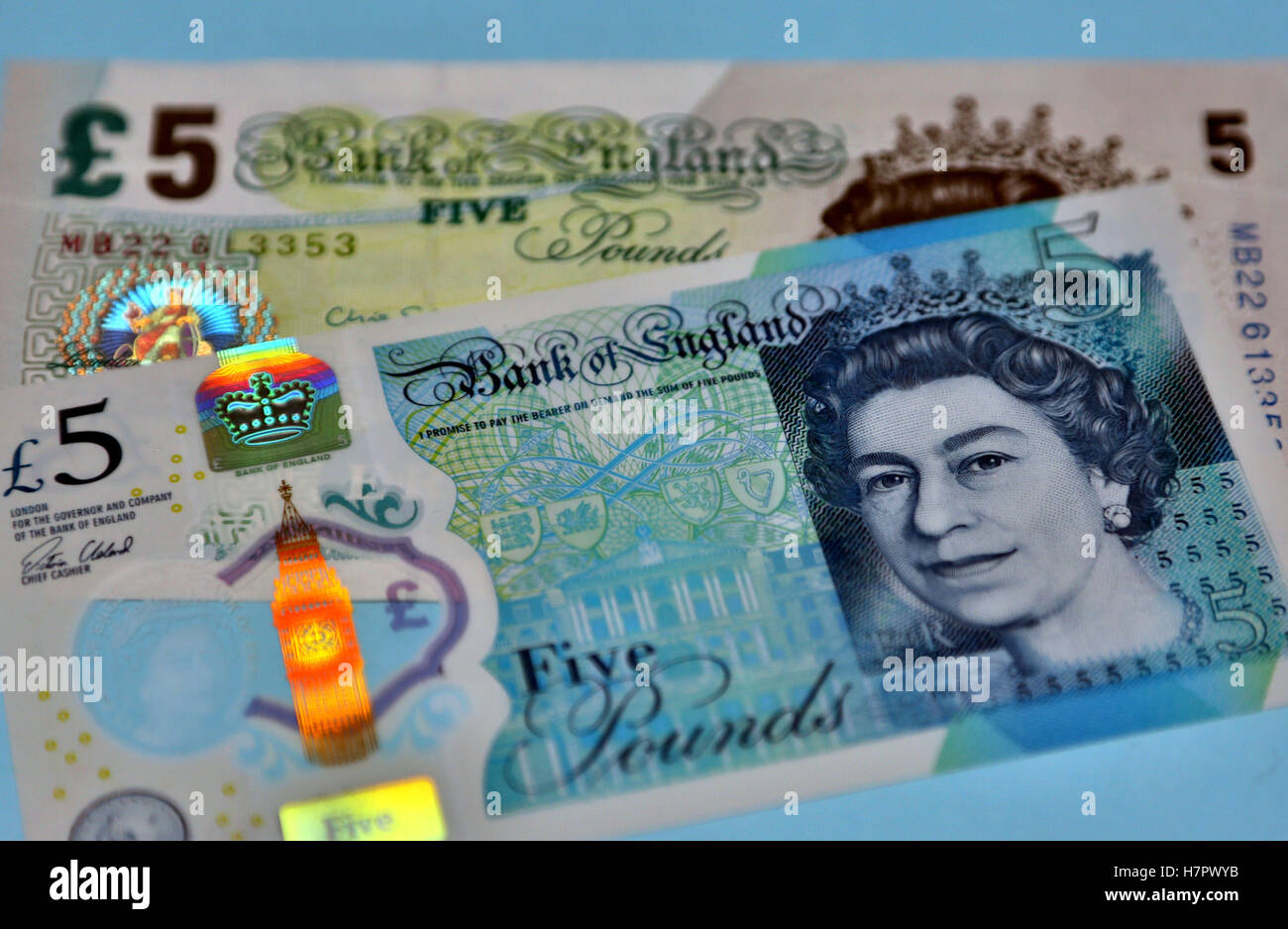 New and old five pound banknotes, London - Stock Image