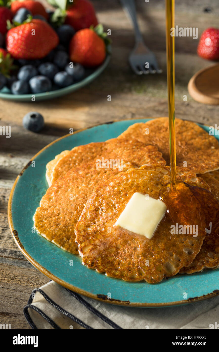 Homemade Mini Silver Dollar Pancakes with Butter and Syrup Stock Photo