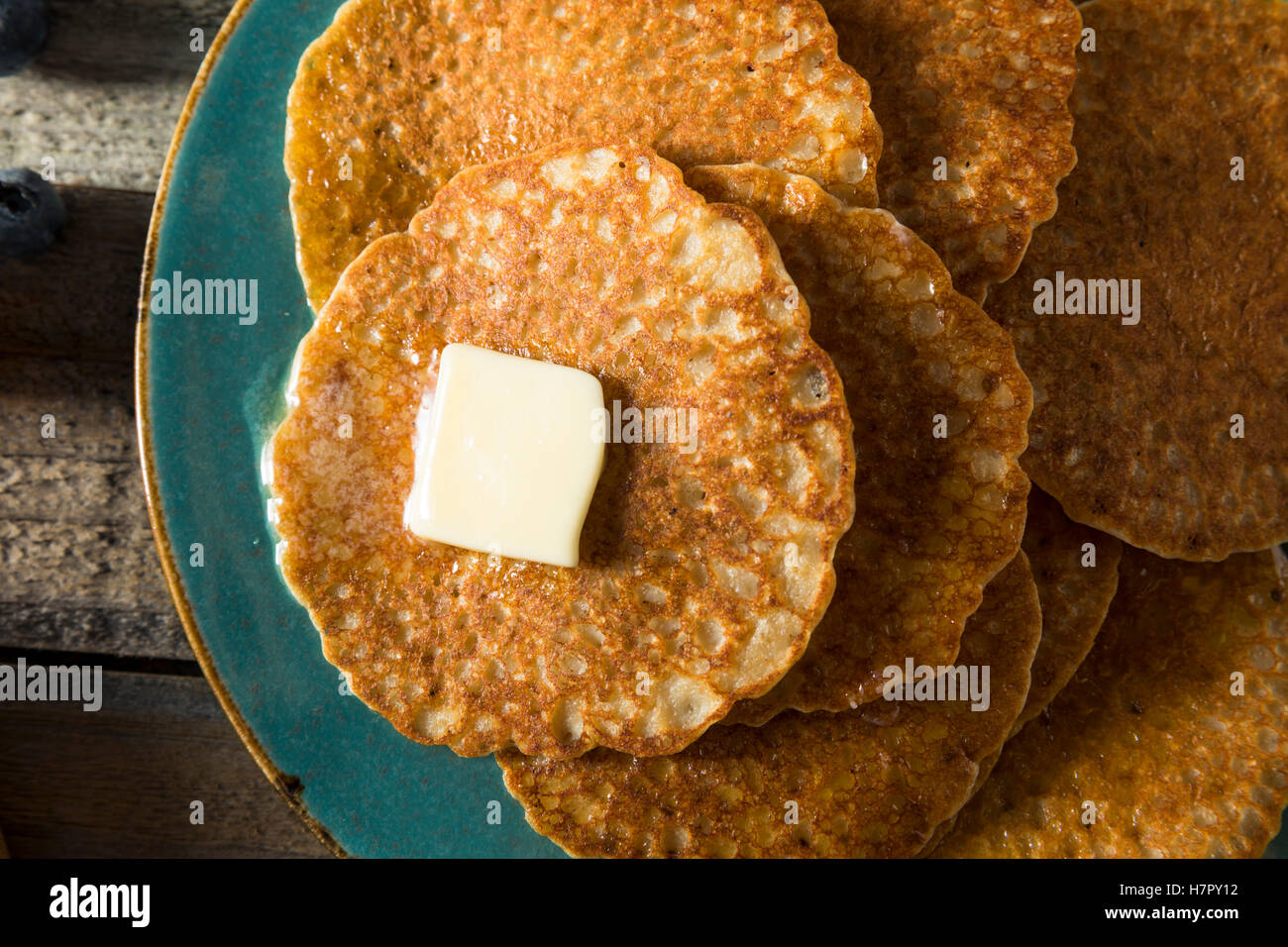 Homemade Mini Silver Dollar Pancakes with Butter and Syrup - Stock Image
