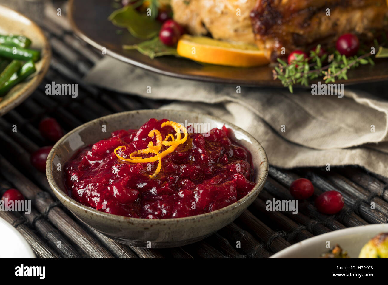Homemade Thanksgiving Cranberry Sauce with Orange Zest - Stock Image