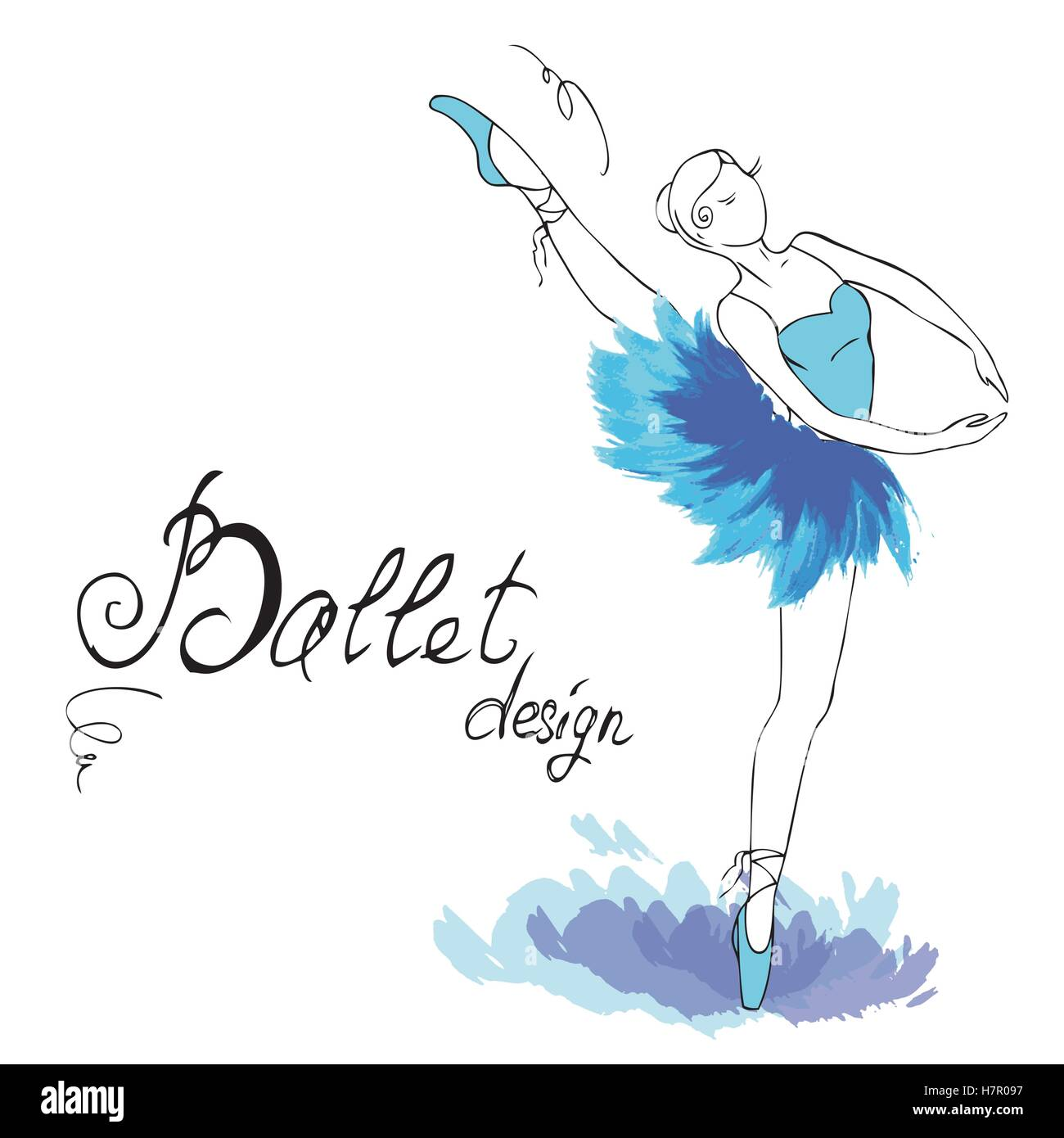 Ballet Dancer Drawing In Watercolor Style Vector Illustration Stock Vector Image Art Alamy
