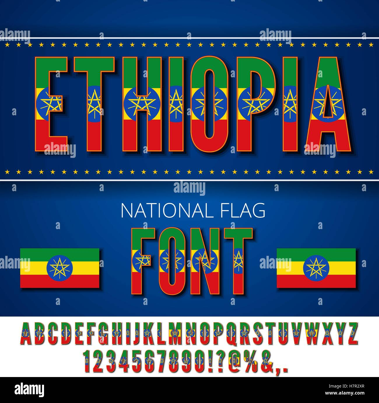 National Flag Font - Stock Vector