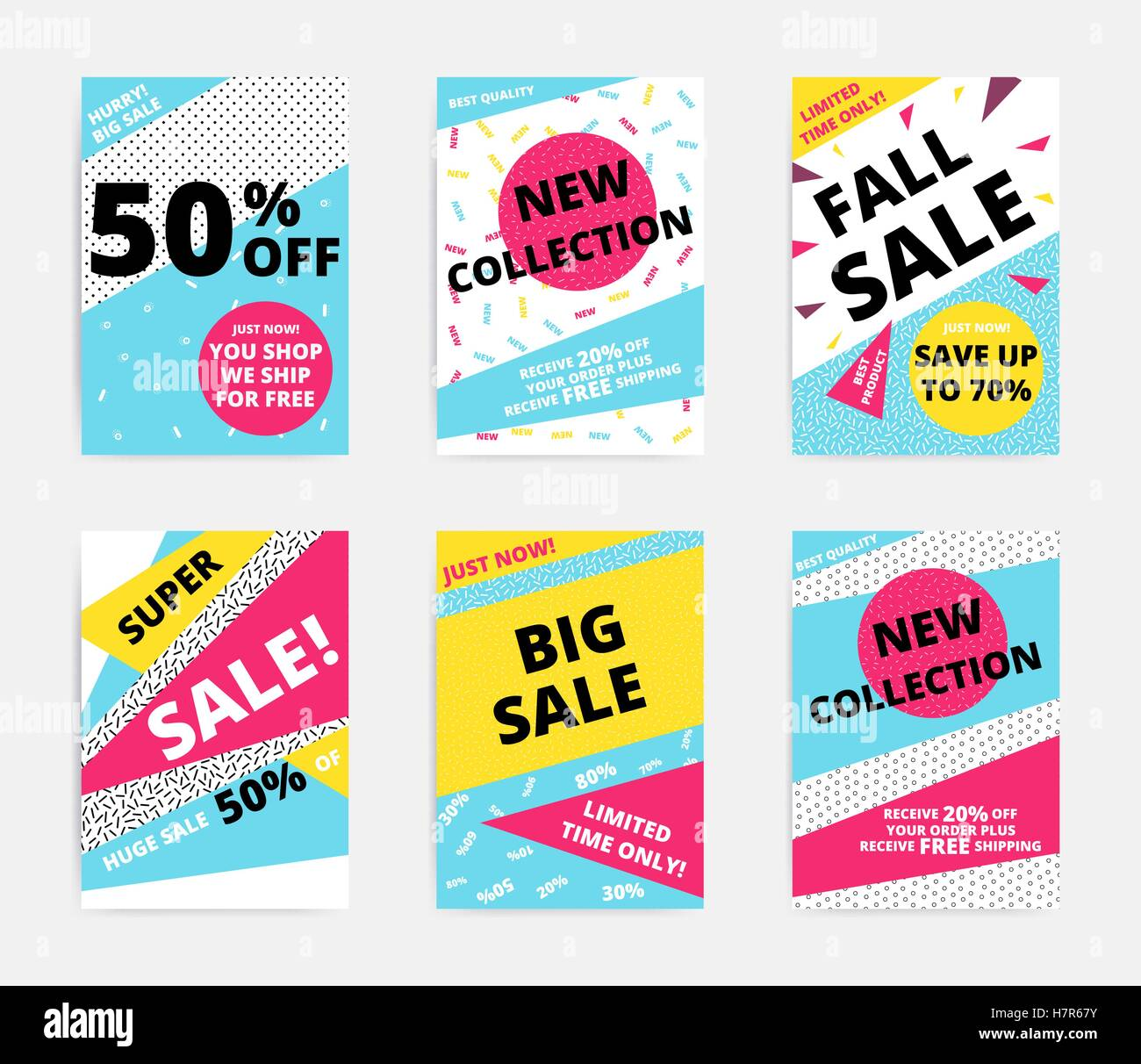 Flat design sale set website banner template. Bright colorful vector illustrations for social media, posters, email, - Stock Image