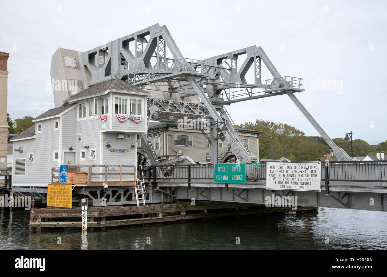 Mystic River highway bridge Connecticut USA - Stock Image