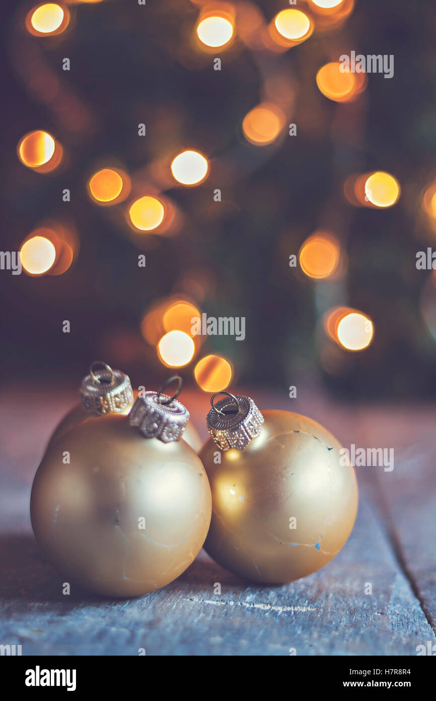 Vintage Christmas Balls On The Background Lights Tree Instagram Style
