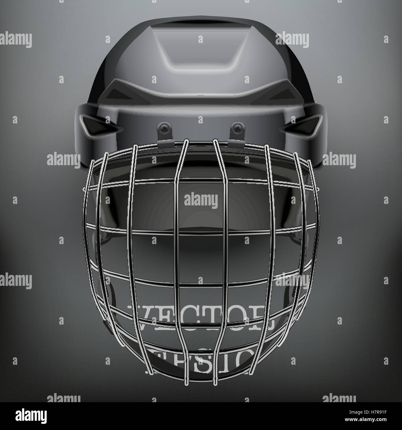 Classic Goalkeeper Ice and Field Hockey Helmet on dark Background. Copy space for text. Sport Equipment. Editable - Stock Image