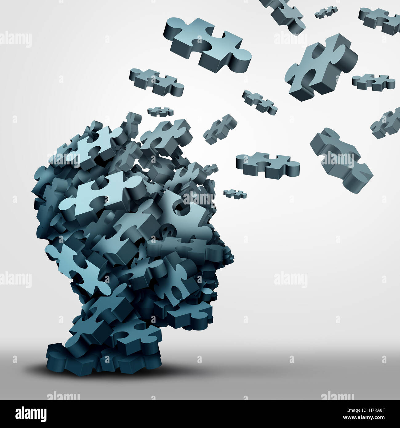Dementia puzzle concept brain health problem symbol as a neurology and psychology icon as a a group of 3D illustration - Stock Image