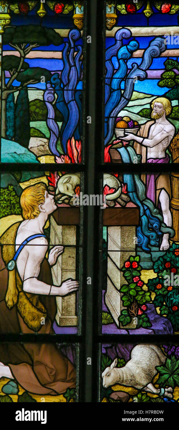Stained Glass window depicting a sacrifice of lambs in the Cathedral of St Rumbold of Mechelen, Belgium. - Stock Image