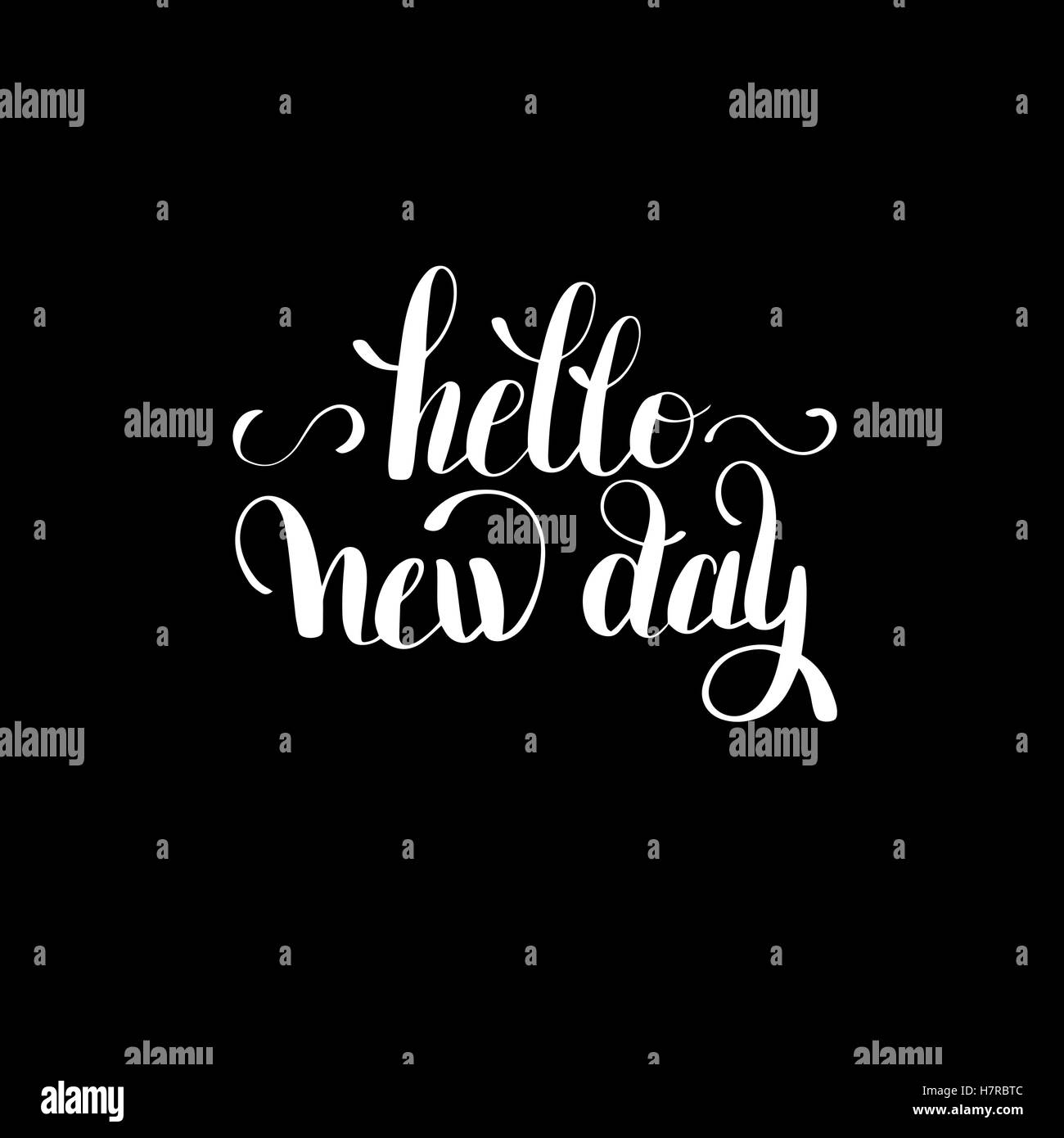 Hello New Day Inspiration Typography Motivational Quote Stock Vector