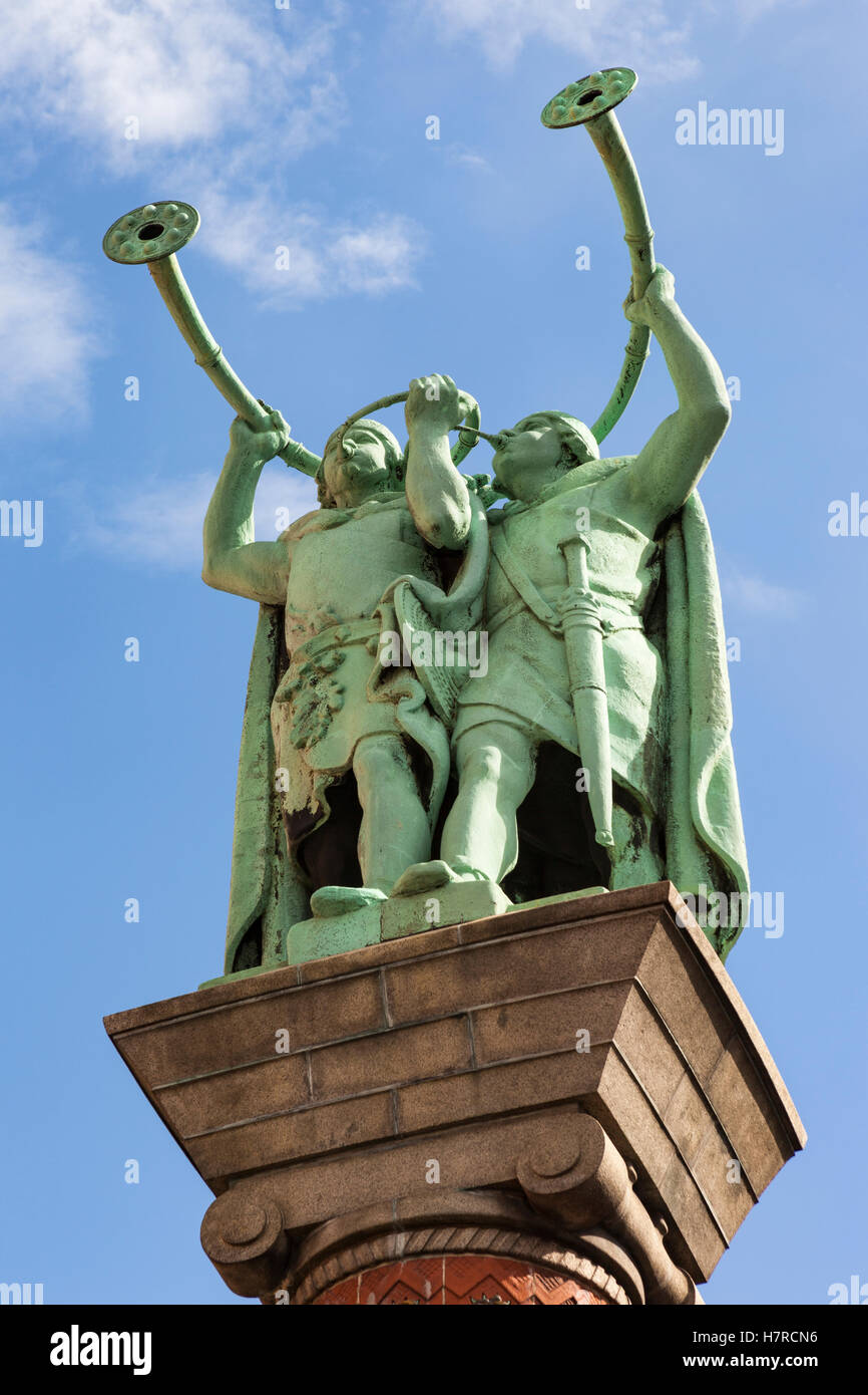 The Horn Blowers statue, also Lur and Lure blowers, Lurblaeserne, Radhuspladsen, Copenhagen, Denmark - Stock Image